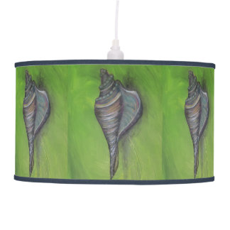 blue seashell on green lamp