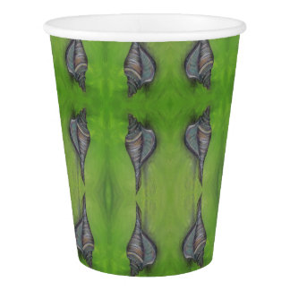 blue seashell on green paper cup