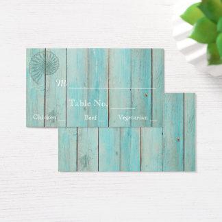 Blue Seashell on Wood Beach Wedding Place Cards
