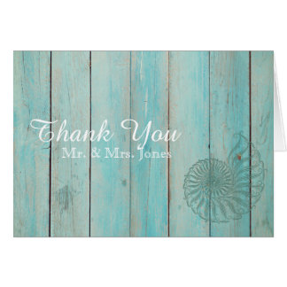 Blue Seashell on Wood Beach Wedding Thank You Card