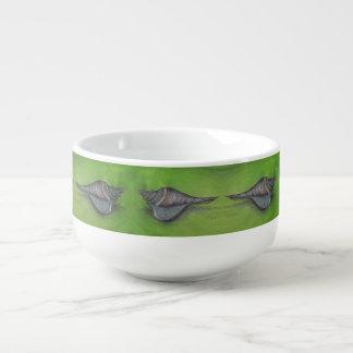 blue seashell soup mug