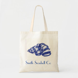 blue seashell tote bag