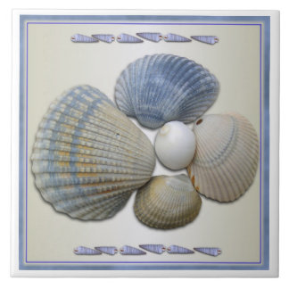 Blue Seashells Square Ceramic Tile