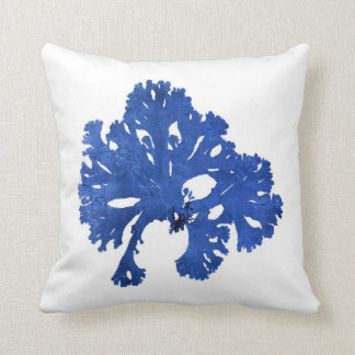 Blue Seaweed no. 9 Nautical art decor Throw Pillow