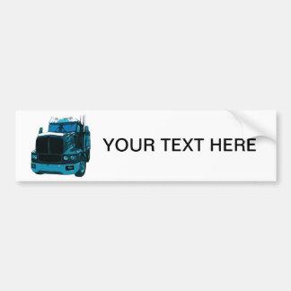 Blue Semi Truck Bumper Sticker