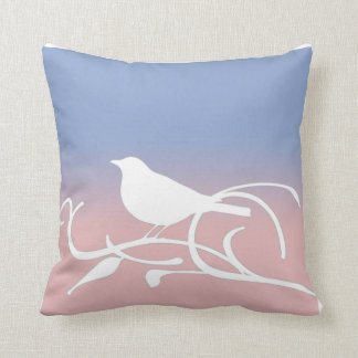 Blue Serenity and Rose Quartz Bird on a Branch Throw Pillow