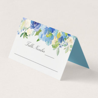Blue Serenity Watercolor Floral Place Card