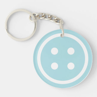 Blue Sewing Button Keychain