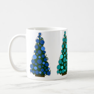 Blue Shades Colored Christmas Tree Mug