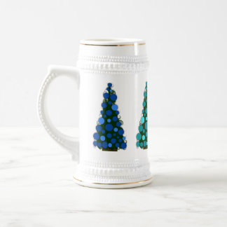 Blue Shades Colored Christmas Tree Stein 18 Oz Beer Stein