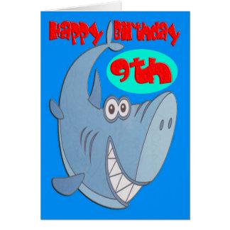 Blue Shark Ninth Birthday Card
