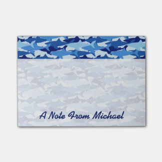 Blue Shark Pattern | Add Your Name Post-it Notes