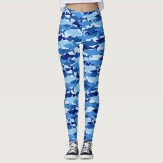 Blue Shark Pattern Leggings