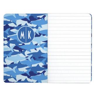 Blue Shark Pattern   Monogram Journals