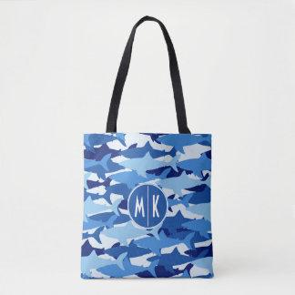 Blue Shark Pattern | Monogram Tote Bag