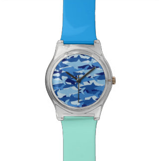 Blue Shark Pattern Wrist Watches
