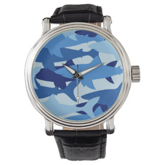 Blue Shark Pattern Wristwatches