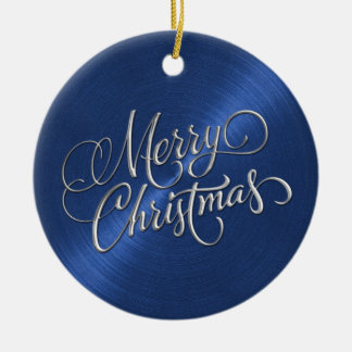 Blue Sheen and Silver Merry Christmas Double-Sided Ceramic Round Christmas Ornament