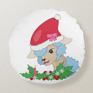 Blue Sheep, Mistletoe Сhristmas Round Pillow