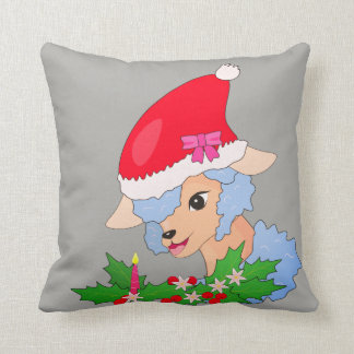 Blue Sheep, Mistletoe Сhristmas Throw Pillow
