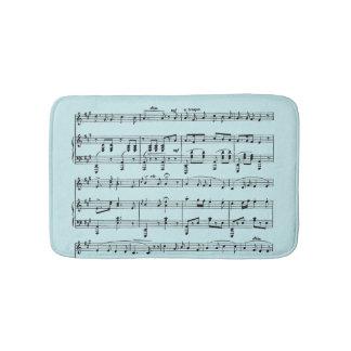 Blue Sheet Music Bath Mat