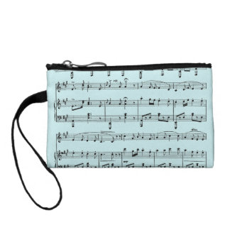 Blue Sheet Music Coin Purse