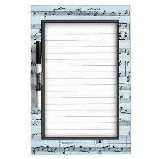Blue Sheet Music Dry Erase Board
