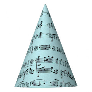 Blue Sheet Music Party Hat