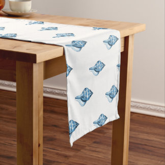 Blue shell nautical coastal beach sea short table runner