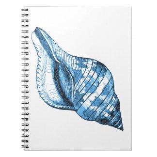 Blue shell nautical coastal ocean beach gifts notebook