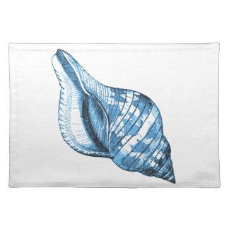 Blue shell nautical coastal ocean beach gifts placemat