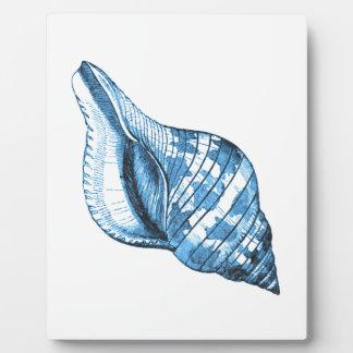 Blue shell nautical coastal ocean beach gifts plaque