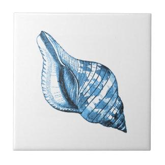 Blue shell nautical coastal ocean gifts tile