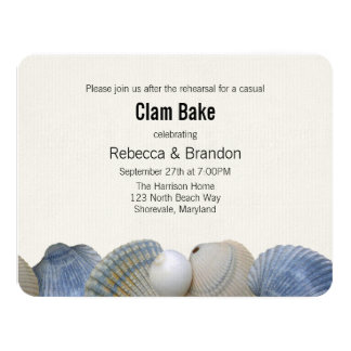 Blue Shells Clam Bake Rehearsal Dinner Invitation