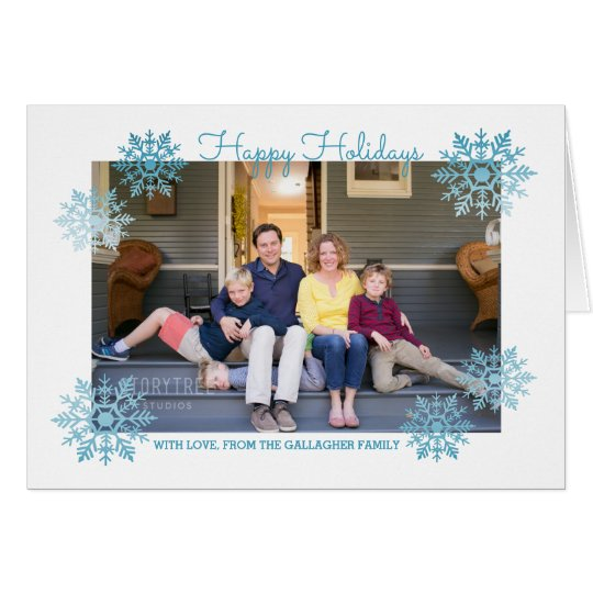 Blue Shimmering Chic Snowflake Holiday Photo Card