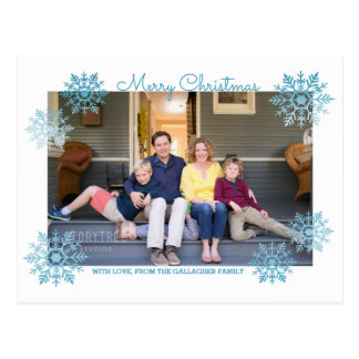 Blue Shimmering Chic Snowflake Holiday Photo Postcard