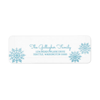 Blue Shimmering Chic Snowflake Holiday Return Address Label