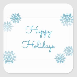 Blue Shimmering Chic Snowflake Holiday Square Sticker