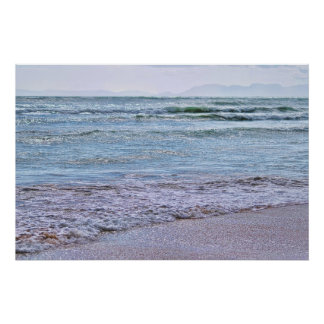 Blue shimmery colors of the sea poster