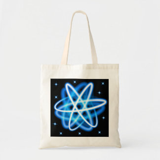 Blue shining neon lights atom model tote bag