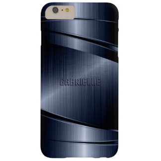 Blue Shiny Metallic Brushed Aluminum Look Barely There iPhone 6 Plus Case