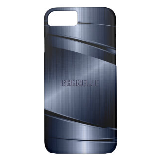 Blue Shiny Metallic Brushed Aluminum Look iPhone 7 Case