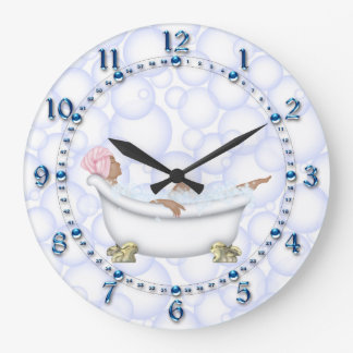 Blue Shiny Numbers Bathroom Bubbles Wall Clock