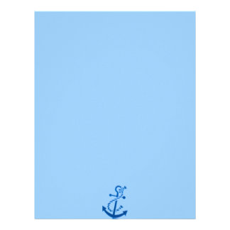 Blue Ship's Anchor Nautical Marine Themed Letterhead