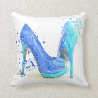 Blue shoes fashion glamour style mode throw pillow