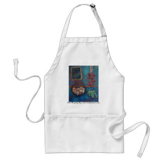 Blue Shopping List apron original art Bev James
