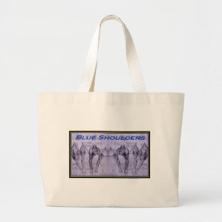 Blue Shoulders black outline.jpg Large Tote Bag