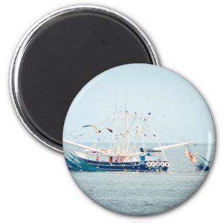 Blue Shrimp Boat on the Ocean 2 Inch Round Magnet