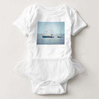 Blue Shrimp Boat on the Ocean Baby Bodysuit