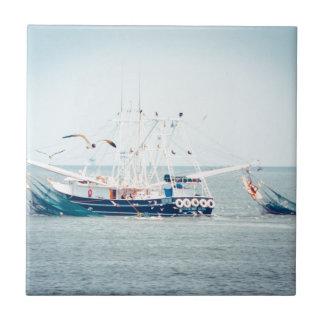 Blue Shrimp Boat on the Ocean Ceramic Tiles